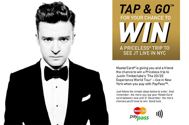 Giving away 3 x S$100 MasterCard PayPass™ Cards to win a Priceless trip to Justin Timberlake's 'THE 20/20 EXPERIENCE WORLD TOUR' in New York - Alvinology
