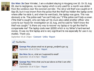 Minister for Foreign Affairs, George Yeo, helps kid with stolen laptop via facebook
