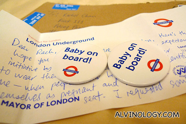 "London Underground's ""Baby On Board!"" Badges"