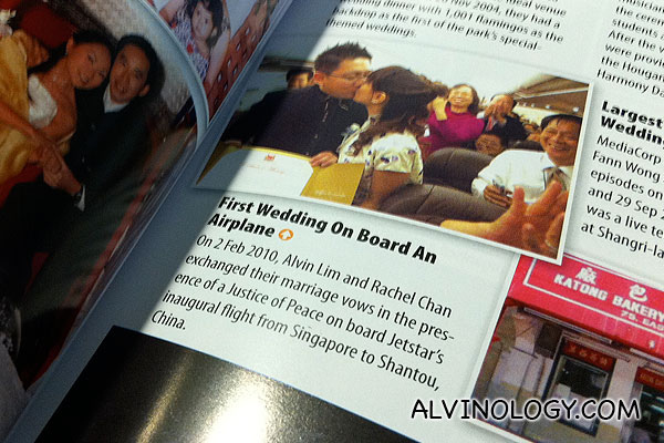 Alvinology in the Singapore Book of Records: First Wedding On Board An Airplane