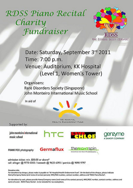 Rare Disorders Society Singapore (RDSS) Piano Recital Charity Fundraiser @ KK Hospital Auditorium