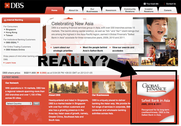 "DBS Bank: ""Safest Bank in Asia 2009, 2010 and 2011""?"