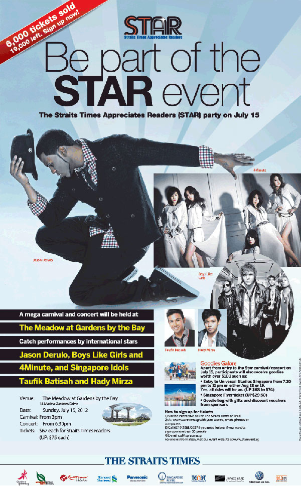 The Straits Times STAR CONCERT 2012 (Concert + Free USS Ticket + Free Singapore Flyer Ticket for $67)!