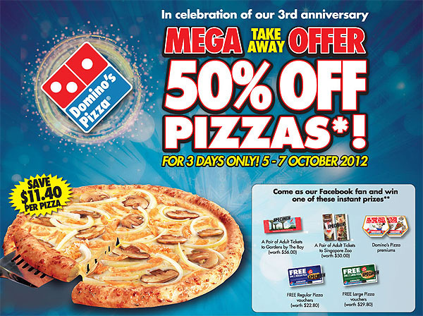 Domino's Pizza Mega Takeaway Offer – 50% Off Pizzas (3 Days Only)!