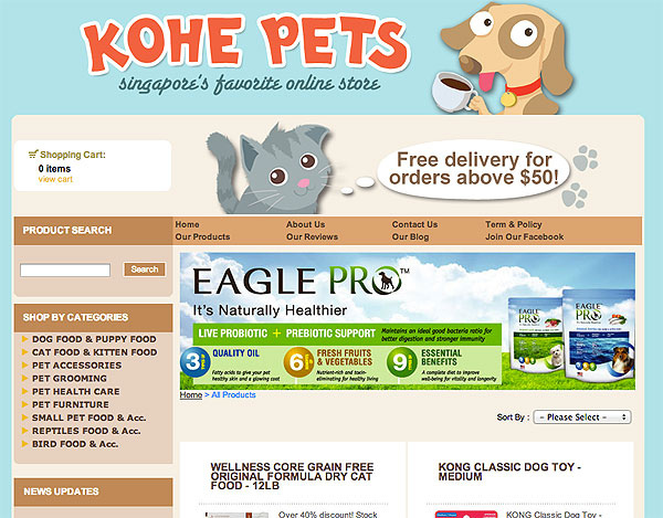 Ordering Pet Food from Singapore Online Store, Kohe Pets