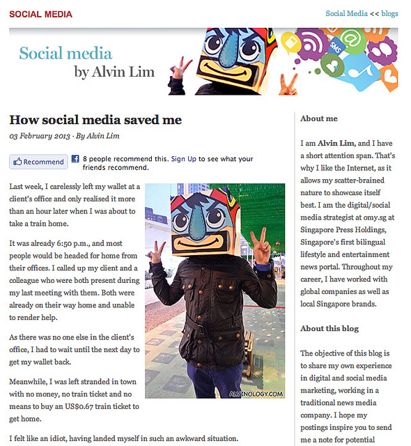 My First Blog Article Contribution to the International Newsmedia Association – How Social Media Saved Me