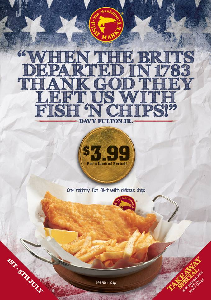 S$3.99 Fish 'n Chips at The Manhattan FISH MARKET Restaurants