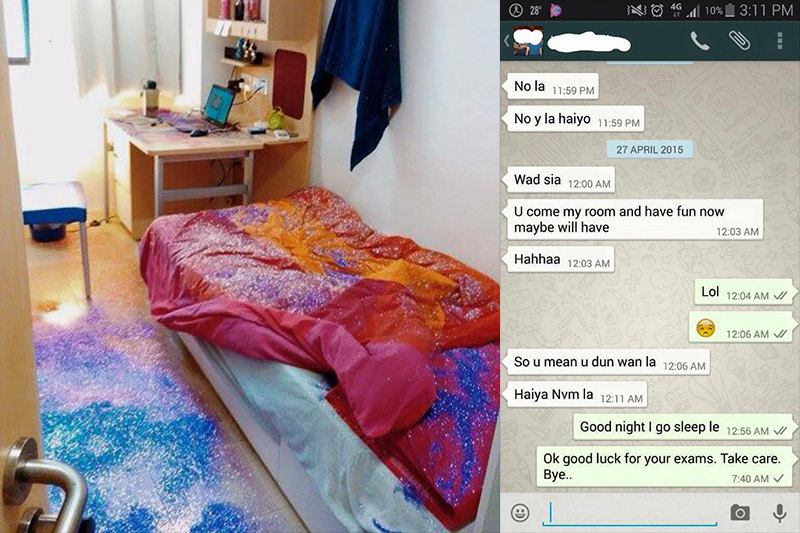 Singapore guy allegedly cheated, got his room glitter-bombed