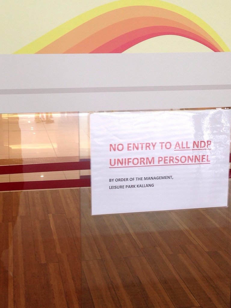 Leisure Park Kallang barred all NDP uniform personnel from entering?