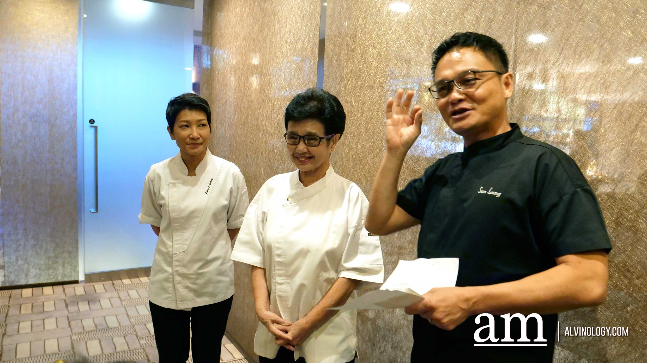 Chef Sam Leong with his mother and wife