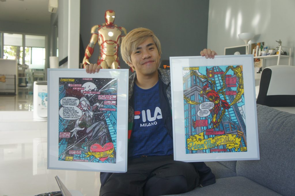 JianHao with fanart of him and Debbie based on Spider-Man and Spider-Gwen