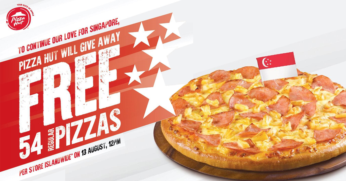 [FREE PIZZA] Pizza Hut is Giving Away 54 FREE PIZZAS per store islandwide on 13 August - Alvinology