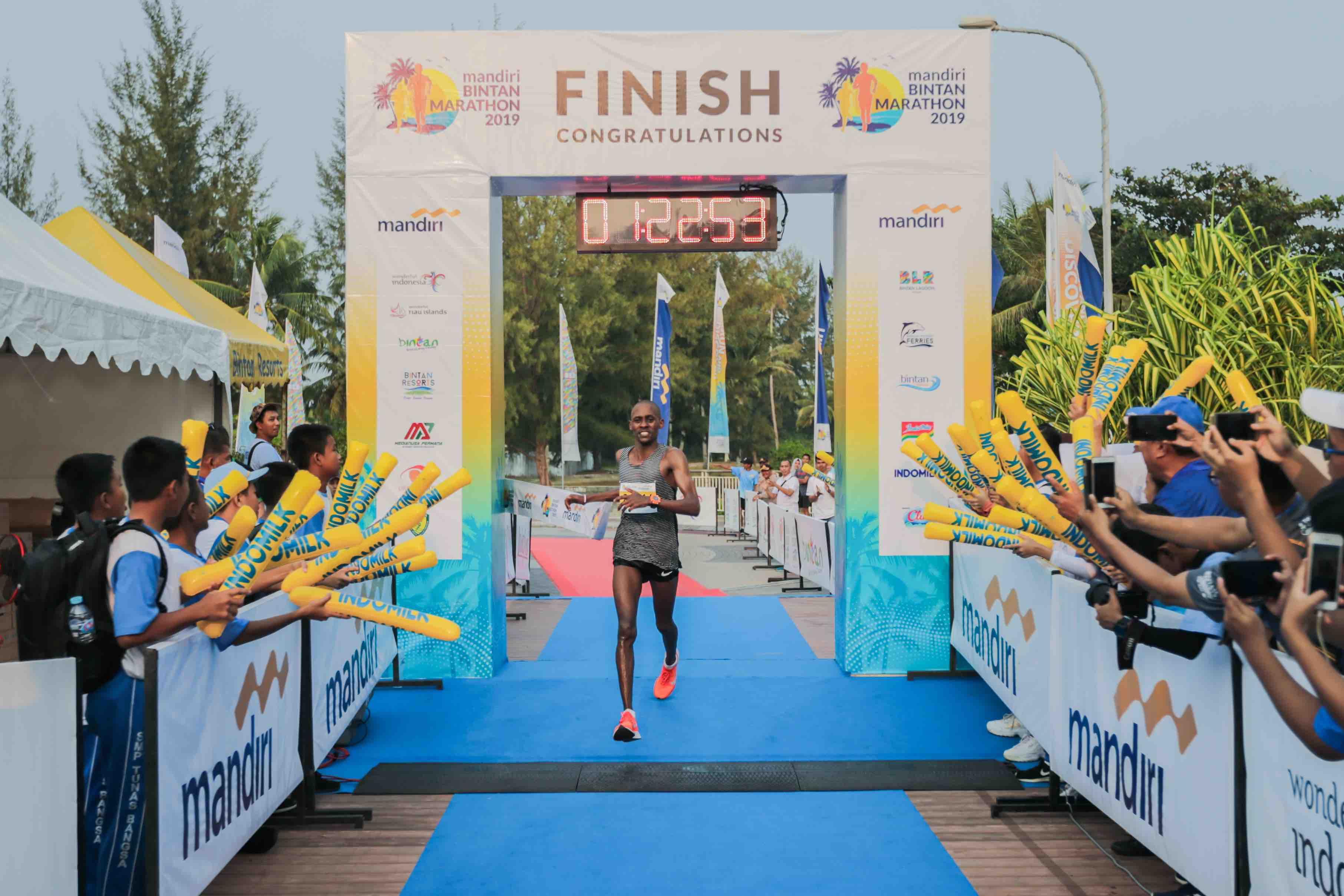 Mathew Samperu, first finisher of the 21km Half Marathon clocked an impressive timing of 01:08:12.6