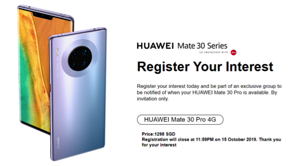 HUAWEI Mate 30 Pro Now Available for Registration of Interest in Singapore – limited time from 5 -15 Oct 2019