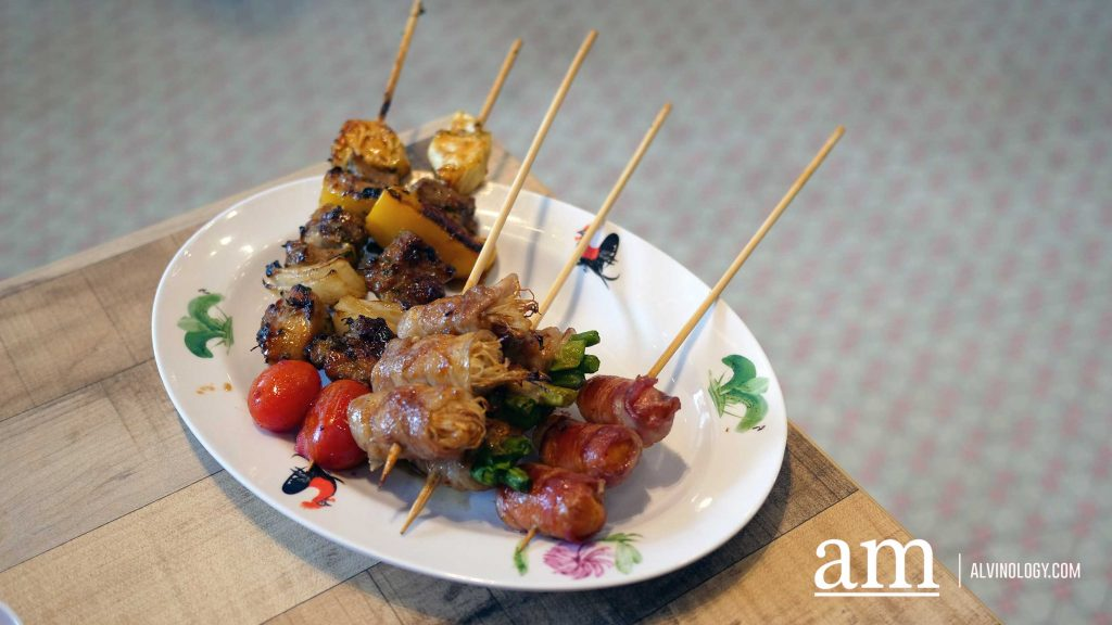 Assorted Skewers such as Pork belly series ($.80/stick) skewers andDeep Fried Small Intestine ($6.90)