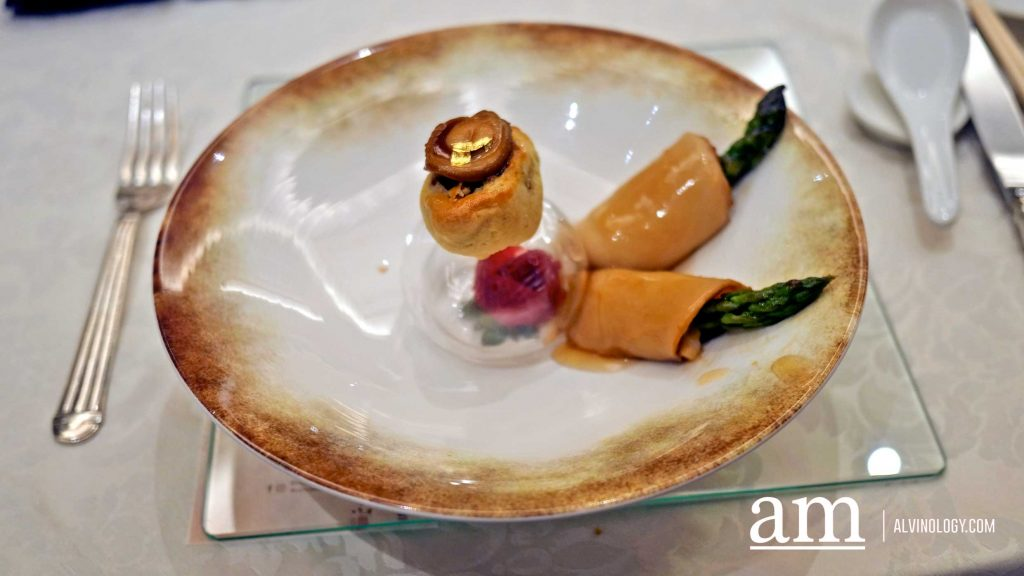 Abalone Ingot Pastry - sliced abalone rolled with asparagus
