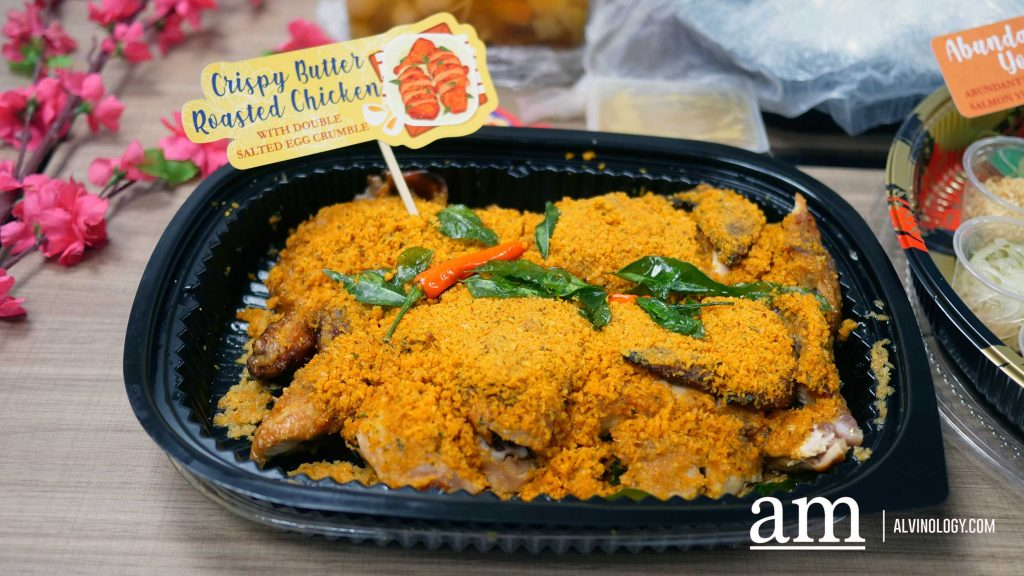 Crispy Butter Roasted Chicken with Double Salted Egg Crumble - S$32.80, approximately 1.7kg
