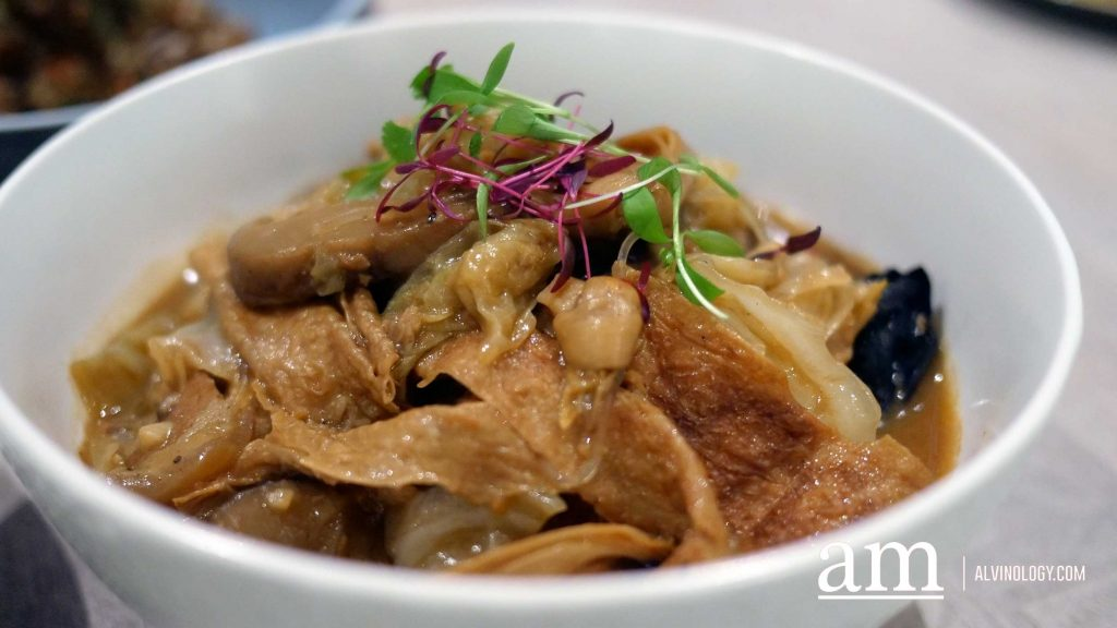 Nyonya Chap Chye, braised cabbage, mushroom, black fungus, dried lily buds, beancurd skin, pork belly with prawn broth and soybean paste - $15