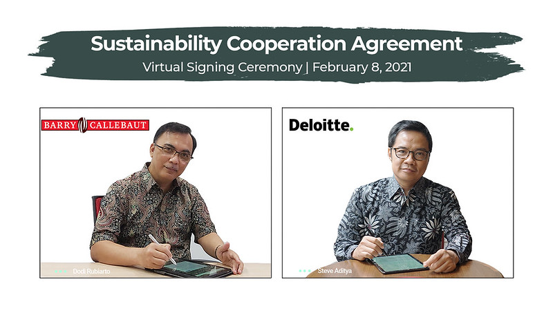 (Left: Dodi Rubiarto, Site Manager for Papandayan Cocoa Industries (PCI Bandung), Barry Callebaut Indonesia; Right: Steve Aditya, Clients & Markets Director, Deloitte Indonesia)