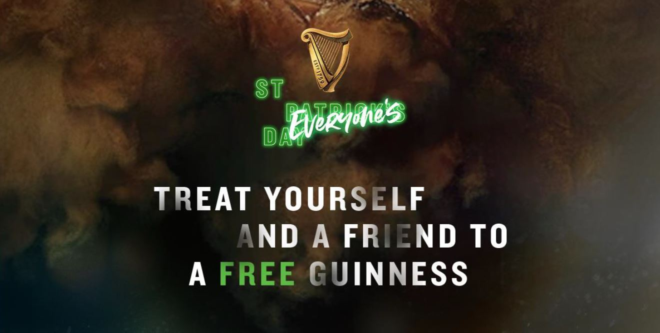 St. Patrick's Day is St. Everyone's Day! Redeem a free half pint of Guinness and even nominate a friend to share another half pint! - Alvinology