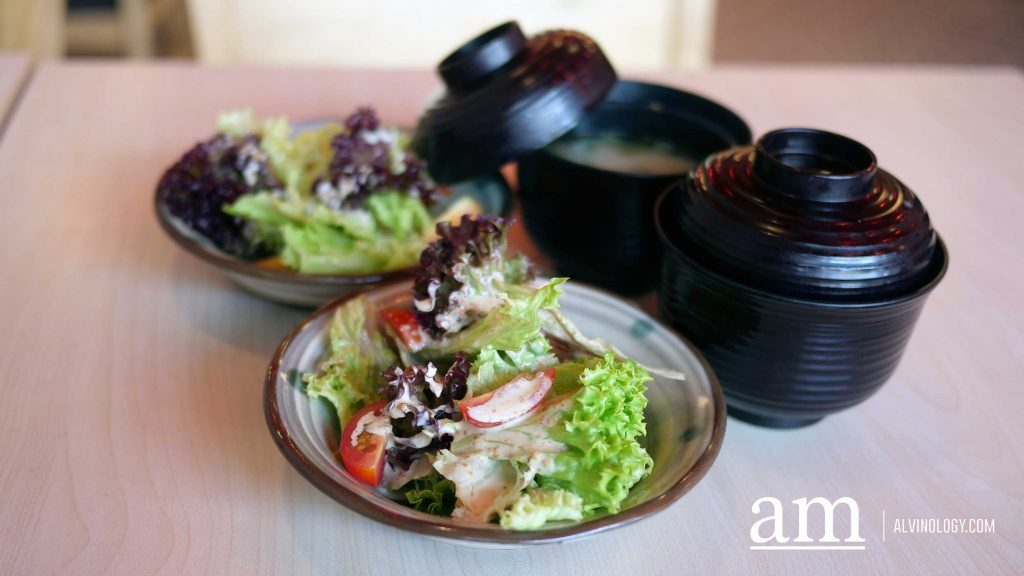Salad and miso soup which comes in the set