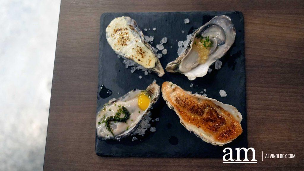 Fresh Oysters: Umibudo ($8), Ikura ($6), Mentaiko ($8), Hokkaido Cheese ($8)
