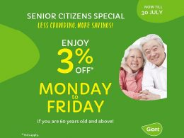Giant Singapore offers 3% All-weekdays Discount to all senior citizens from now till end of July 2021! - Alvinology