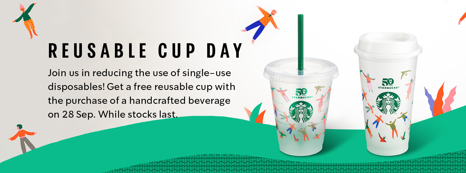 Starbucks offers free 50th anniversary reusable cup when you buy any handcrafted beverage on 28 September - Alvinology
